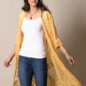 Three bird nest mustard mandala sheer kimono